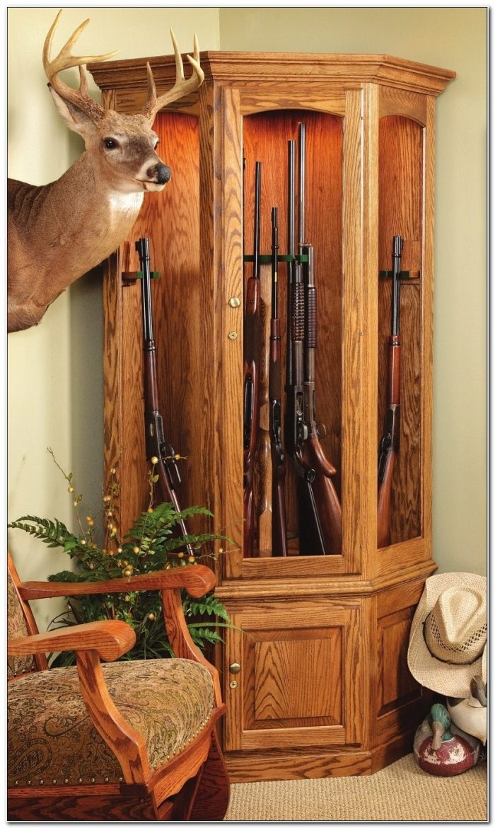 Cherry Wood Corner Gun Cabinet