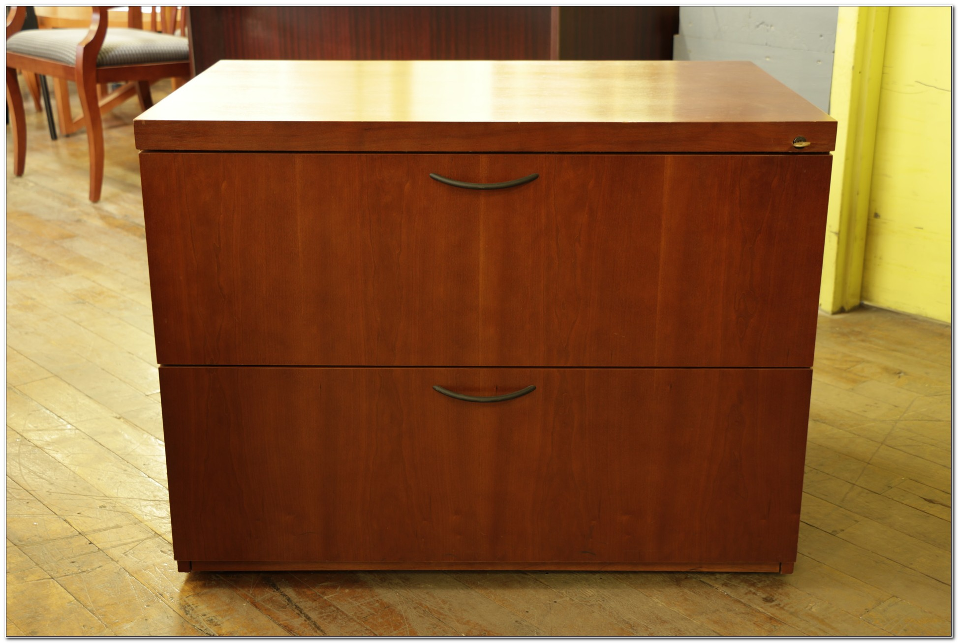 Cherry Wood Filing Cabinet 2 Drawer