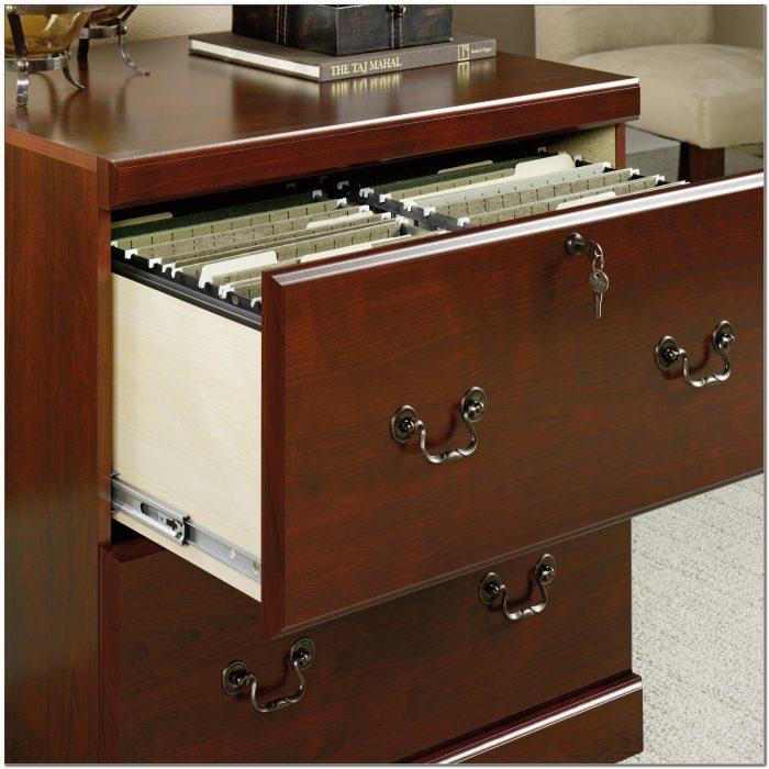 Cherry Wood Locking File Cabinet
