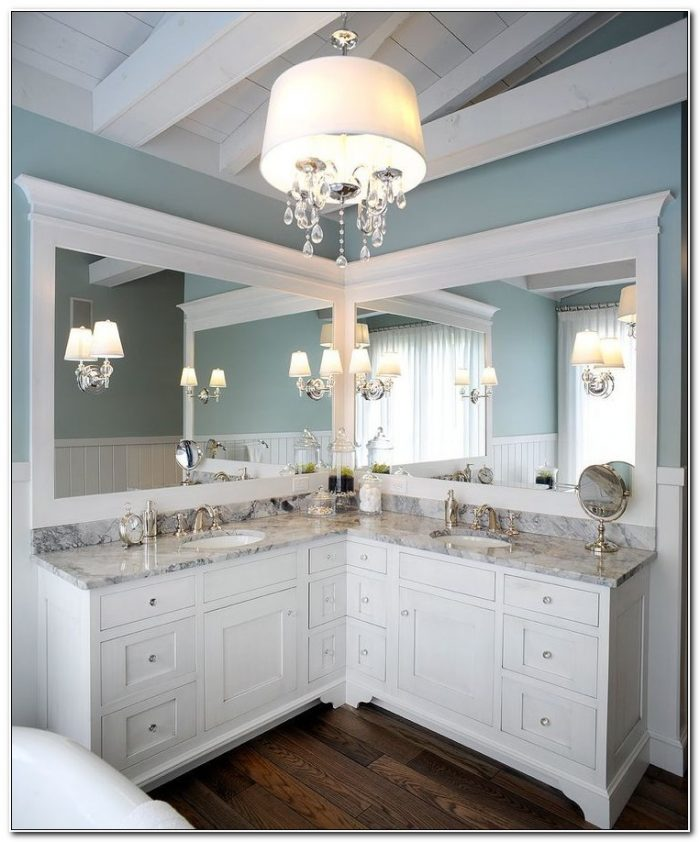 Corner Bathroom Double Sink Vanity