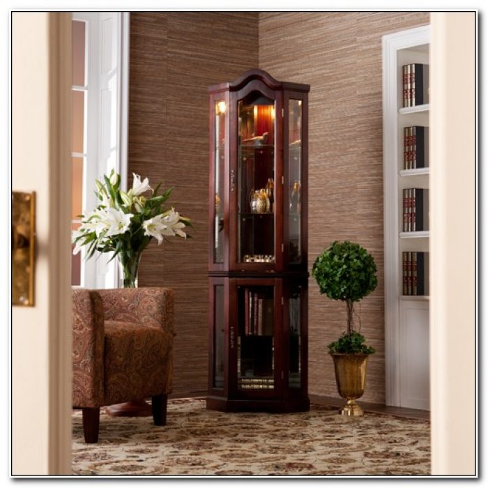 Corner Lighted Curio Cabinet Mahogany