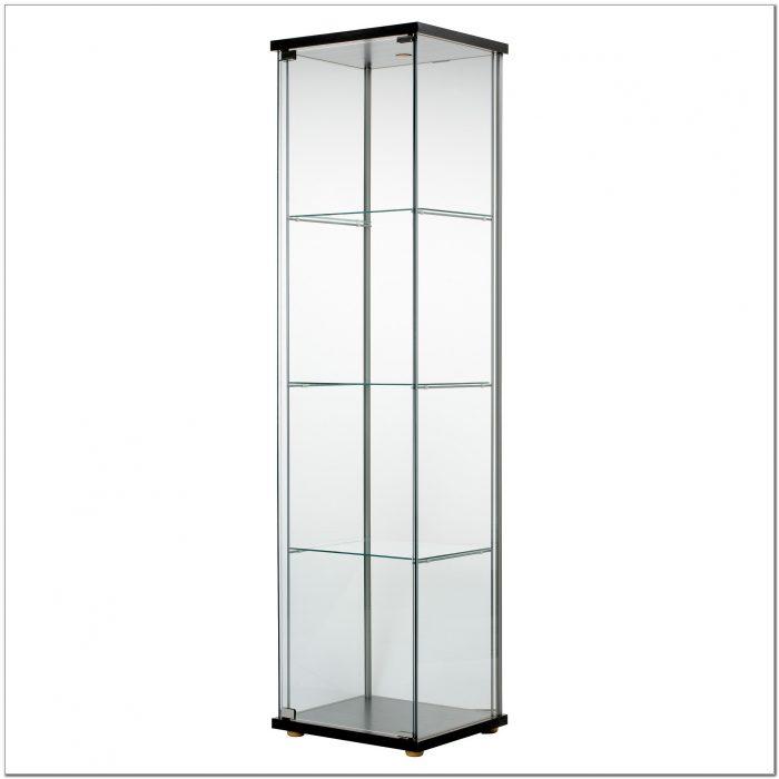 Detolf Glass Curio Display Cabinet Black