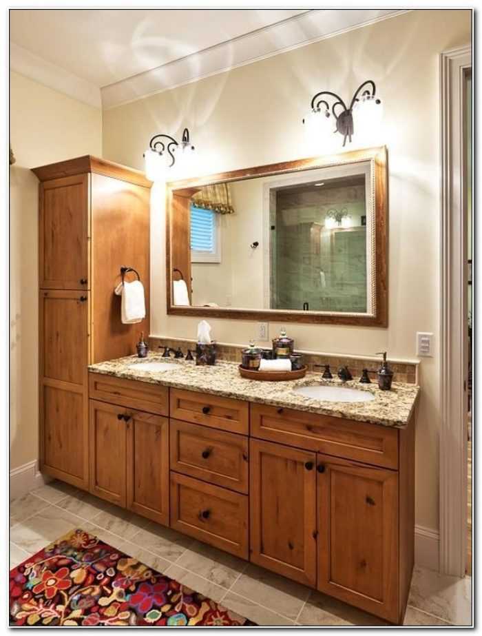 Double Bathroom Vanities With Linen Closet