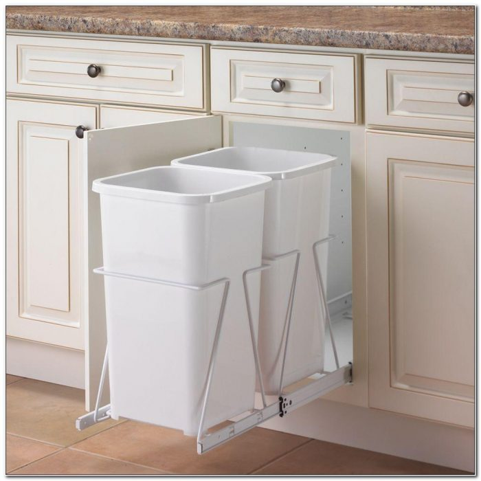 Double Trash Can Pull Out Cabinet
