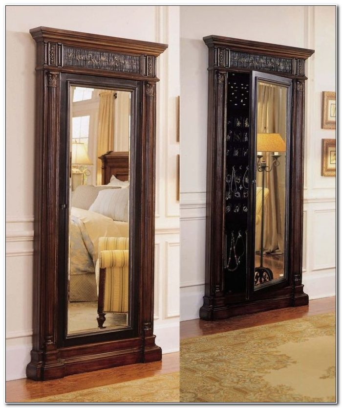 Floor Mirror With Jewelry Cabinet