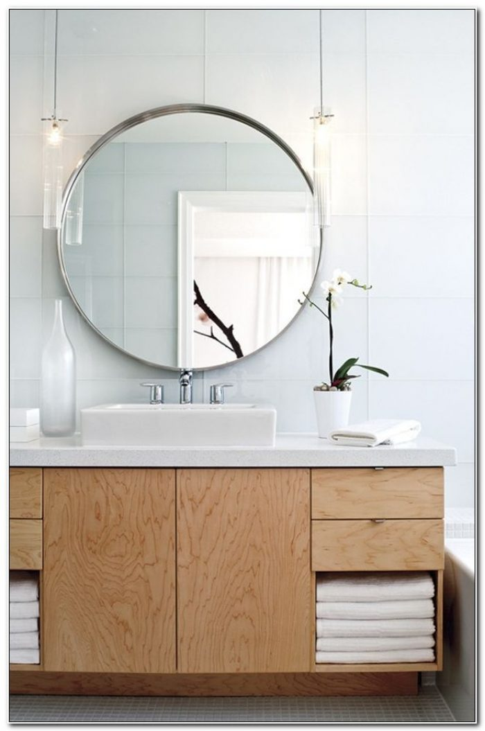 Large Round Mirror Bathroom Cabinet