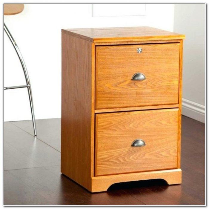 Locking 2 Drawer Wood File Cabinet