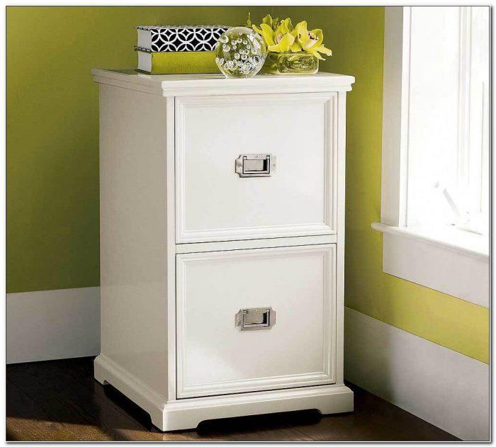Locking White Wood File Cabinet