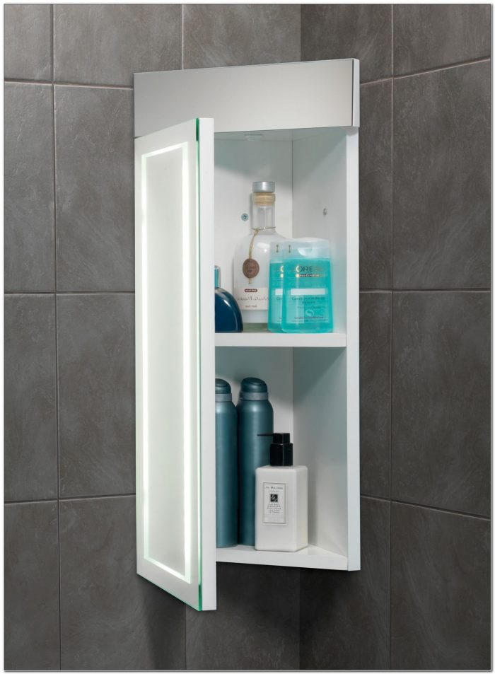Minnesota Illuminated Bathroom Mirror Corner Cabinet