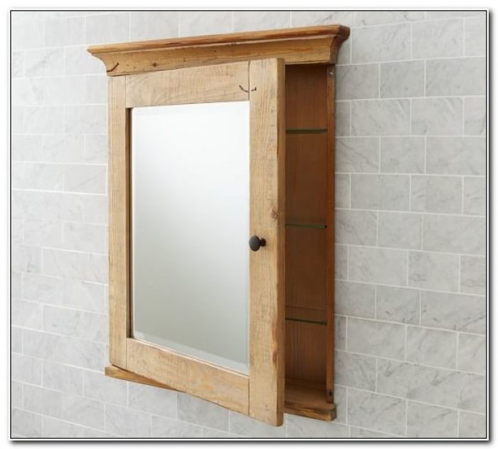Natural Wood Recessed Medicine Cabinets With Mirrors