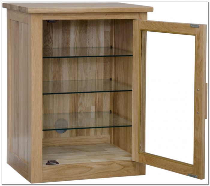 Oak Hifi Cabinets With Glass Doors
