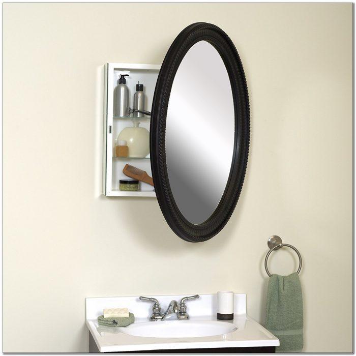 Oval Framed Mirror Medicine Cabinet