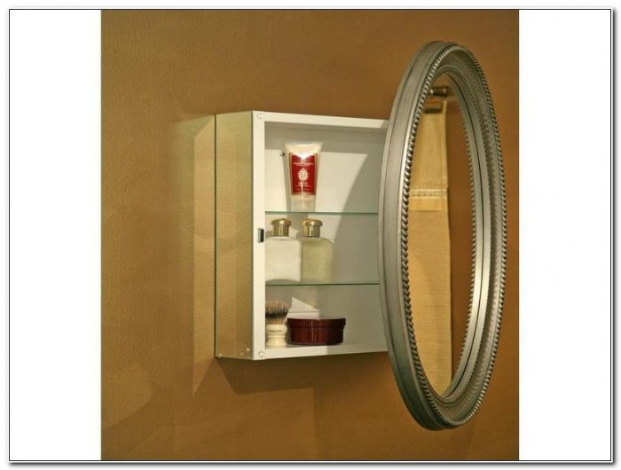 Oval Mirror Medicine Cabinet Surface Mount