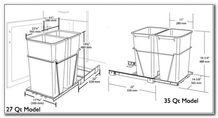 Pull Out Trash Can Cabinet Dimensions