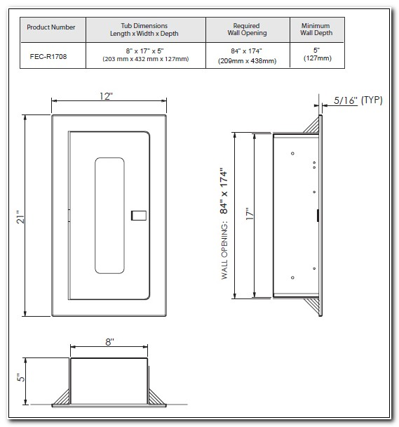 Recessed Fire Extinguisher Cabinet Dimensions
