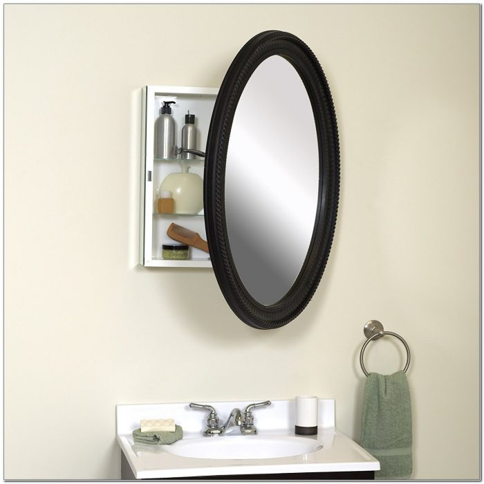 Recessed Medicine Cabinet With Oval Mirror