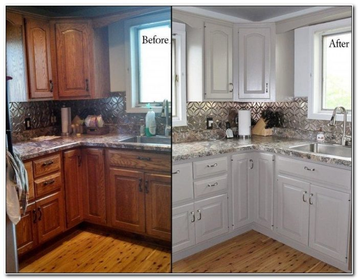 Refinishing Oak Kitchen Cabinets Before And After