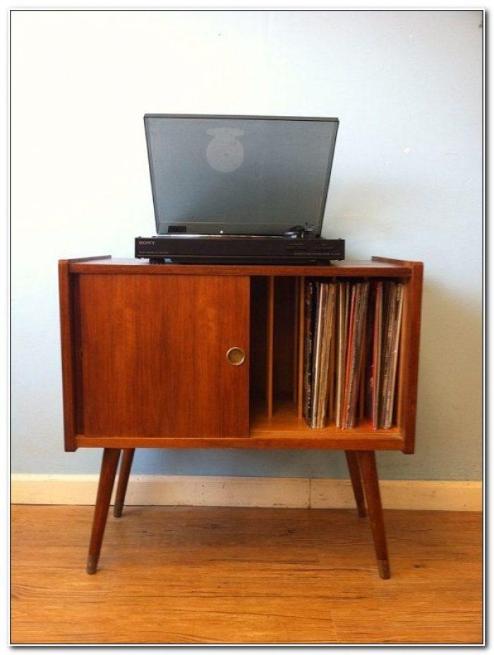 Retro Vinyl Record Storage Cabinet