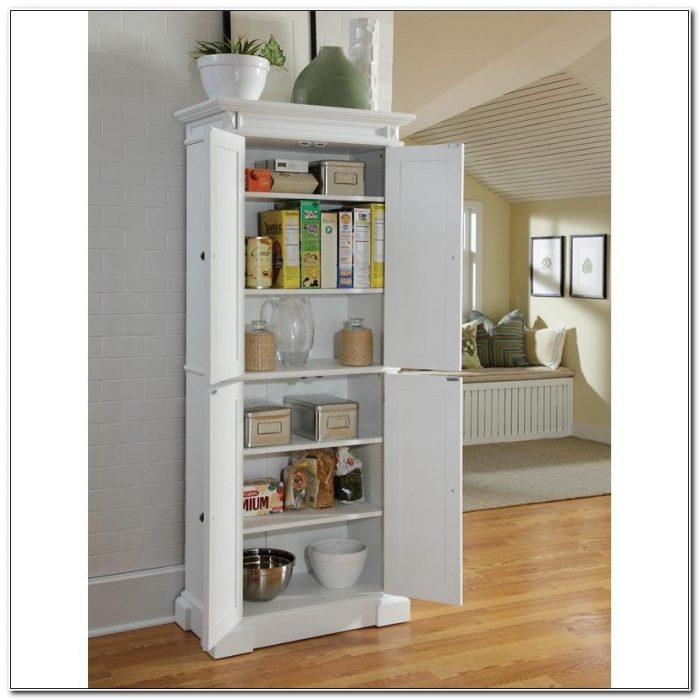 Stand Alone White Pantry Cabinets