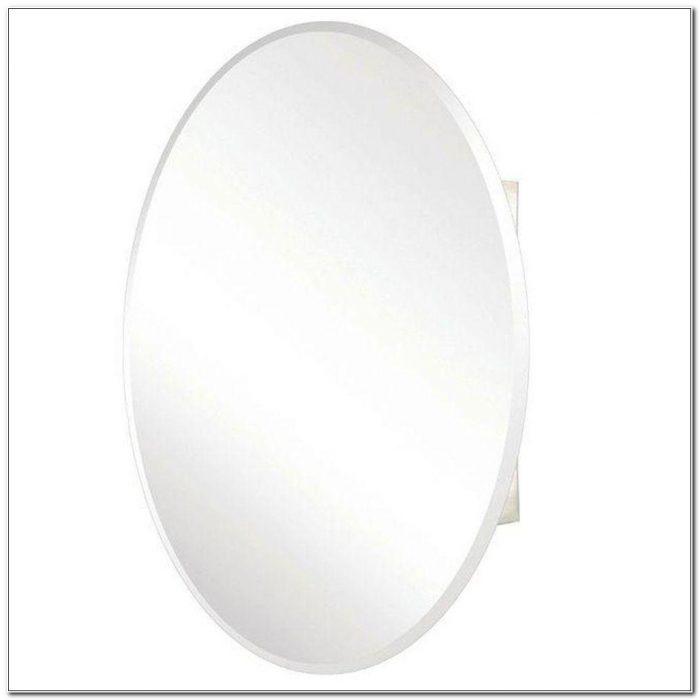 Surface Mount Oval Mirror Medicine Cabinet