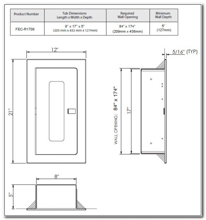 Surface Mounted Fire Extinguisher Cabinet Dimensions