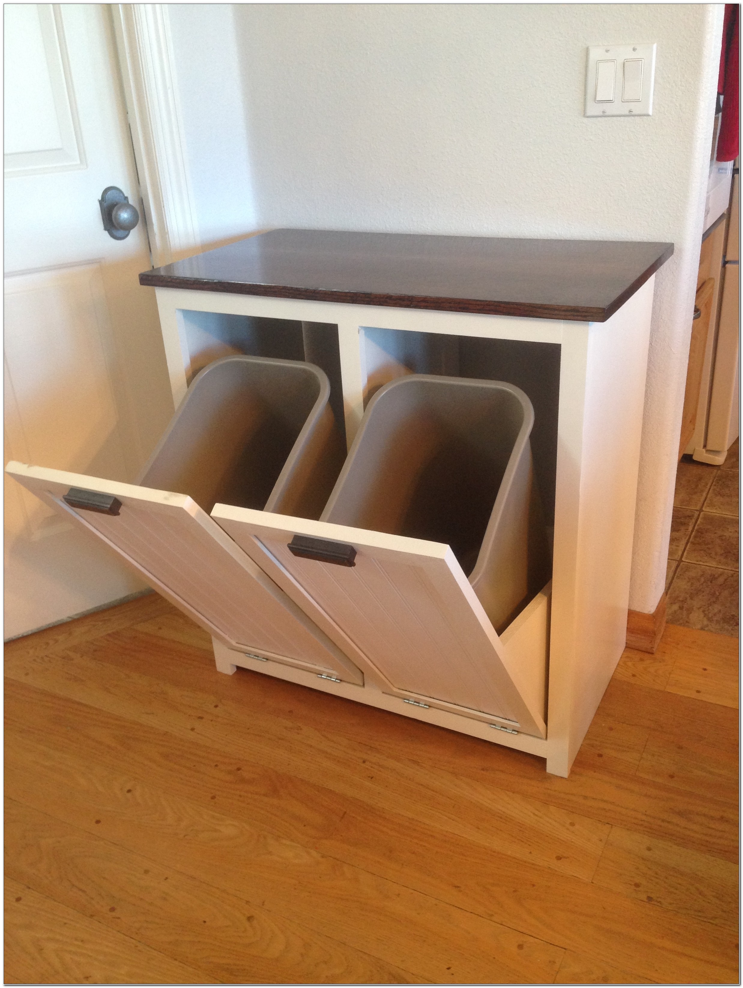 Tilt Out Trash And Recycling Cabinet