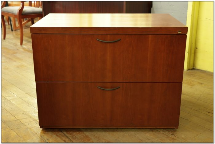 Two Drawer Cherry Wood Filing Cabinet