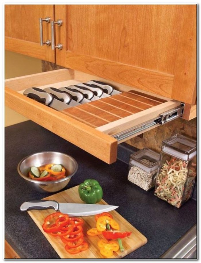 Under Cabinet Knife Storage Drawer
