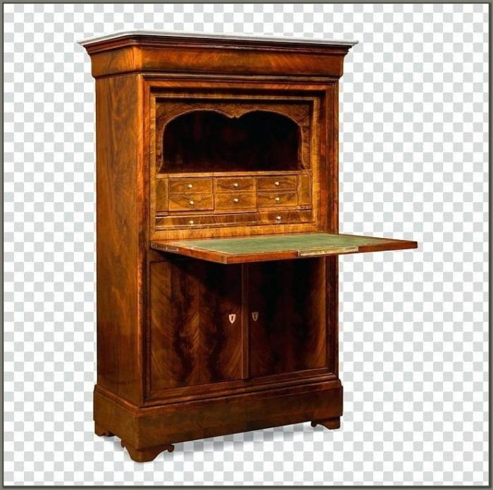 Antique Oak Secretary Desk With Hutch