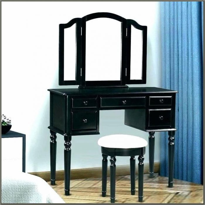 Black Vanity Desk With Mirror And Lights