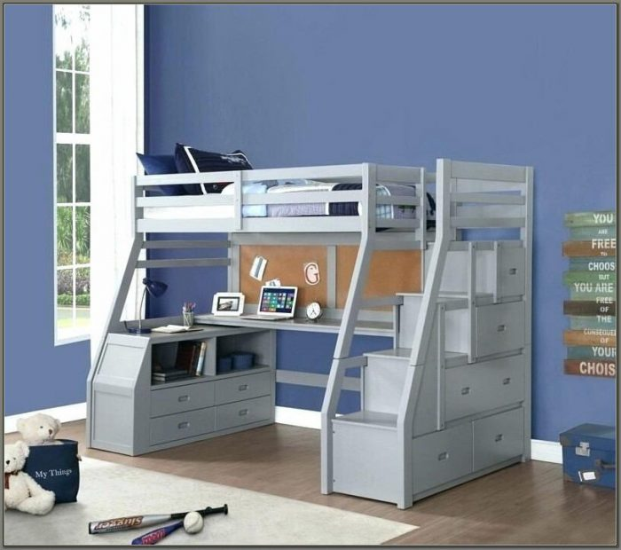 Bunk Bed With A Desk And Stairs