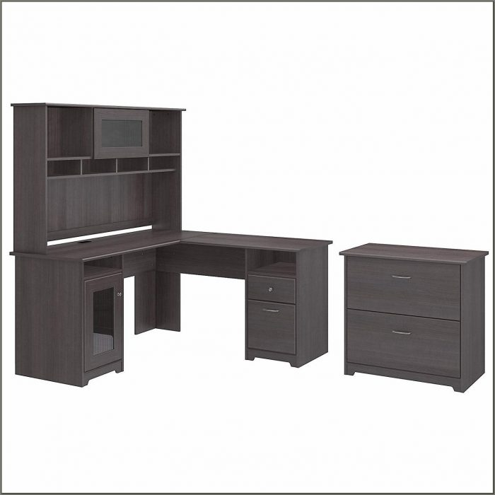 Bush Cabot L Shaped Desk Heather Gray