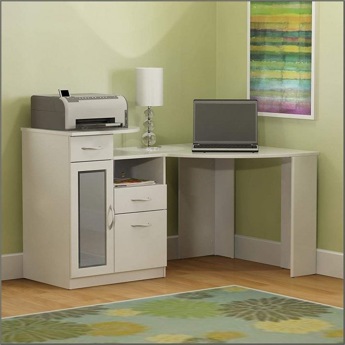 Bush Furniture Vantage Corner Desk Pure White