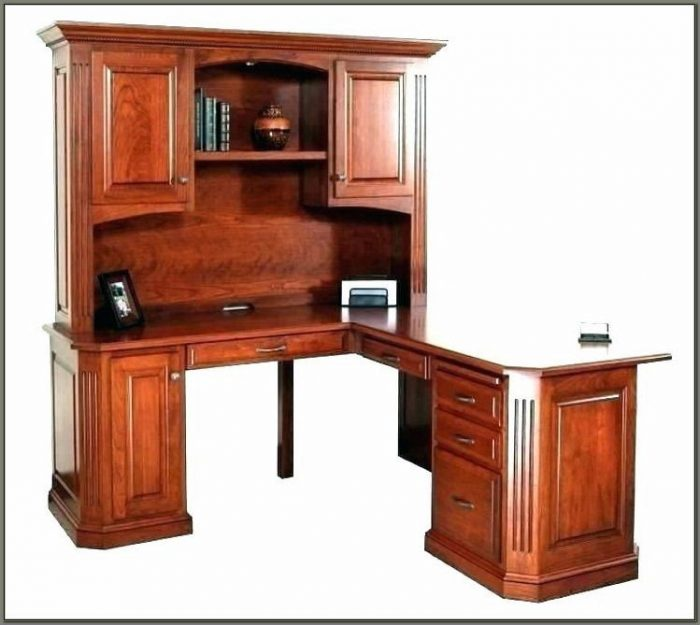 Cherry Wood Corner Desk With Hutch