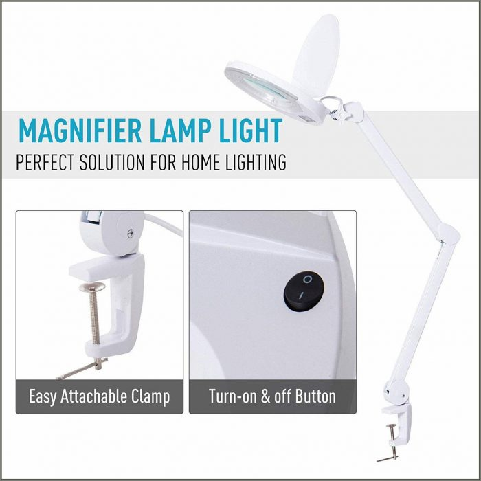 Clamp On Desk Lamp With Magnifier