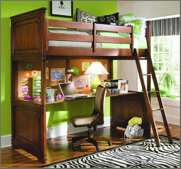 Double Bed Bunk Beds With Desks Underneath
