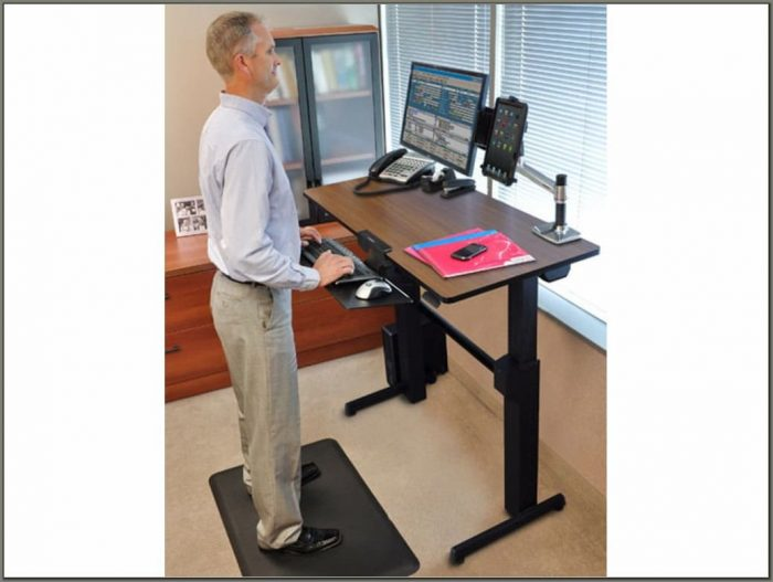 Ergotron Workfit D Sit Stand Desk Walnut