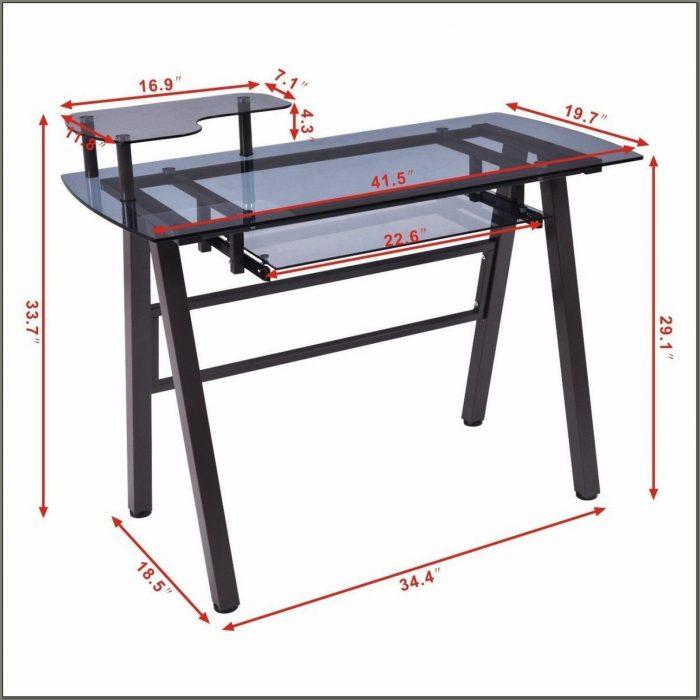 Glass Computer Desk With Printer Shelf