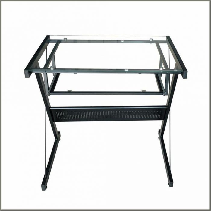 Glass Top Desk With Keyboard Tray