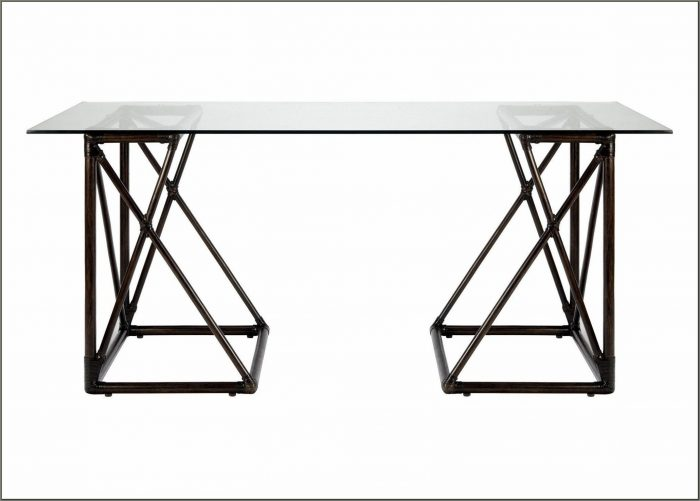 Glass Top Trestle Desk