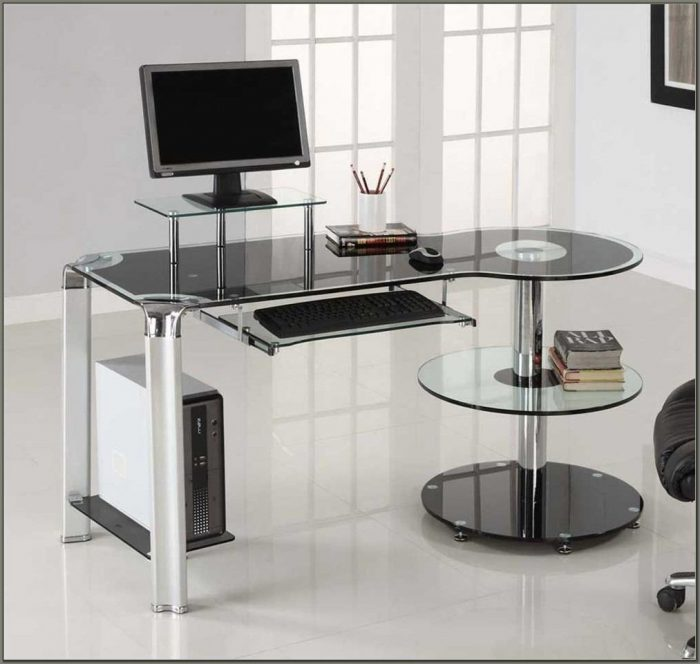 Innovex Glass Computer Desk Black