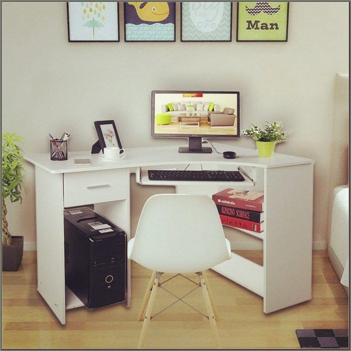 L Shaped Desk With Keyboard Tray