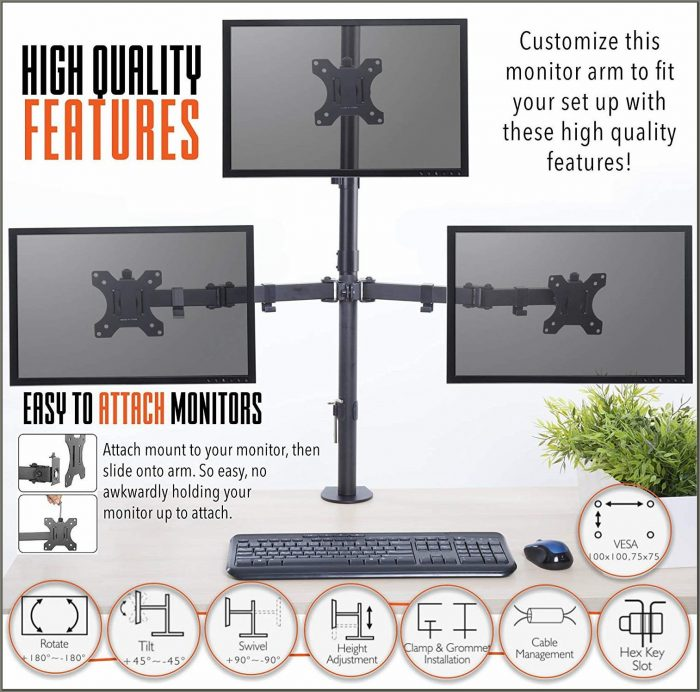 Stand Steady 3 Monitor Desk Mount Stand