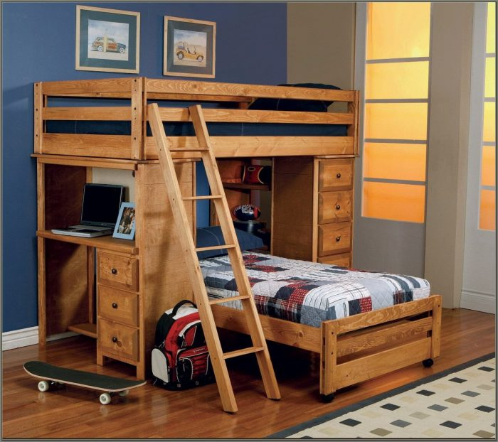 Twin Over Twin Loft Bed With Desk