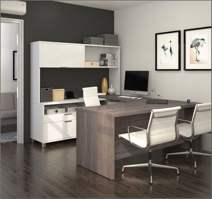 U Shaped Desk With Hutch White
