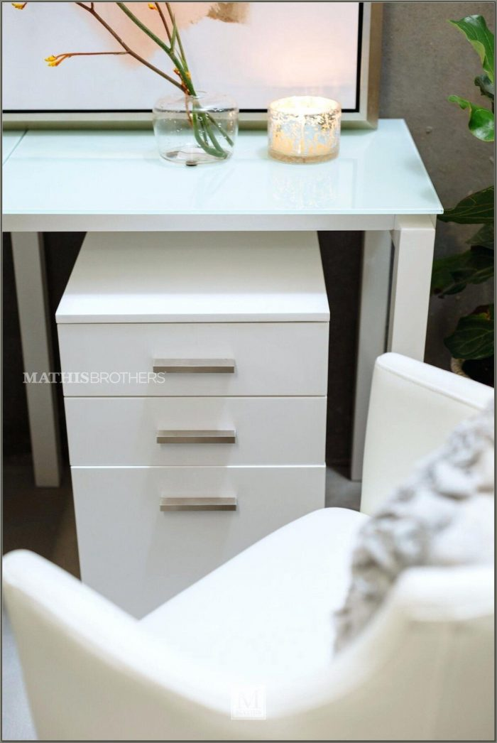White Desk With Drawers On Both Sides