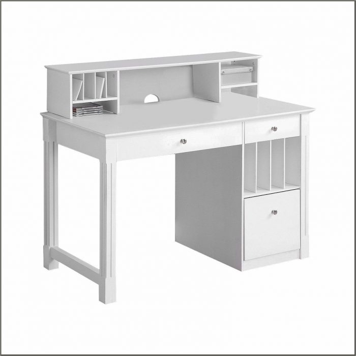 White Wood Desk With Hutch