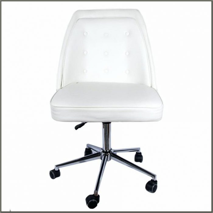 White Wooden Swivel Desk Chair