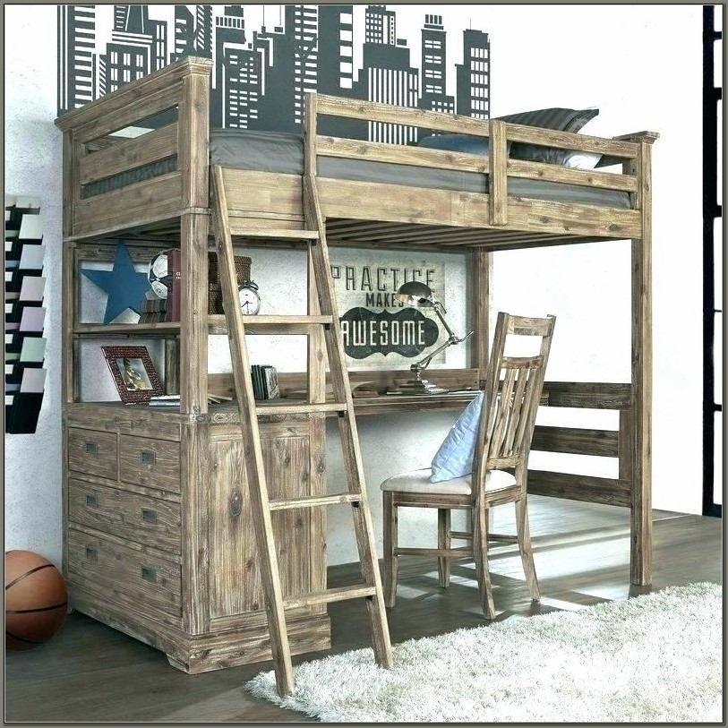 Wooden Bunk Bed Desk Combo