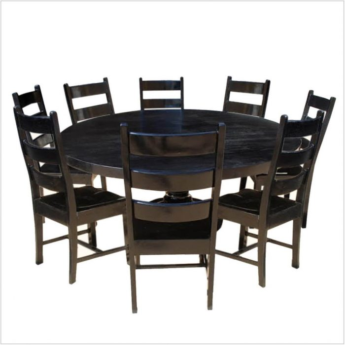 Black Round Dining Room Table Set